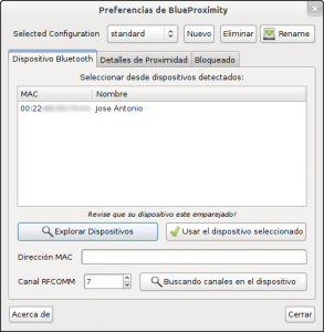 Preferencias de BlueProximity-Dispositivos
