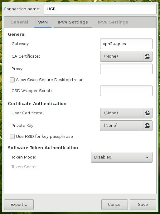 C mo configurar la vpn ssl desde linux para la ugr for Oficina virtual de la ugr