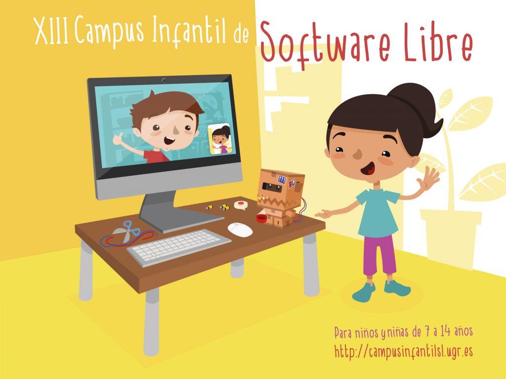 Imagen digital del campus con una niña y un niño por videoconferencia.